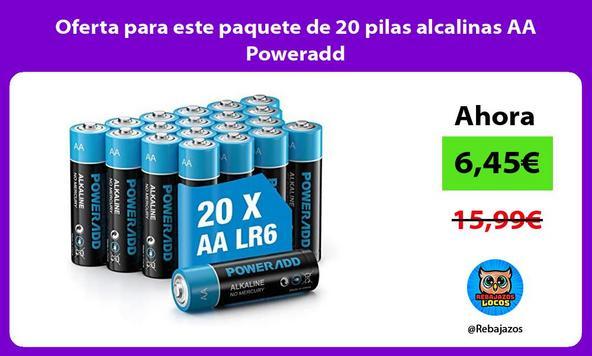Oferta para este paquete de 20 pilas alcalinas AA Poweradd