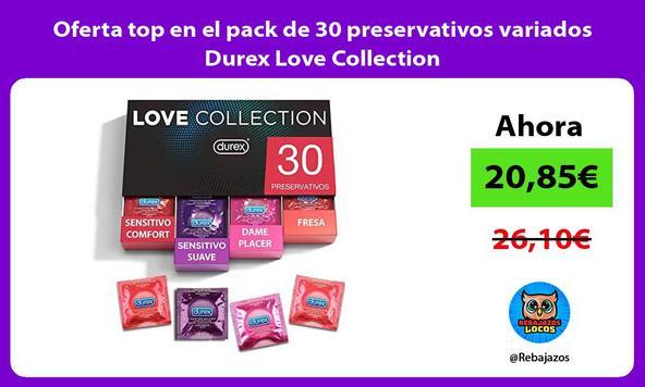 Oferta top en el pack de 30 preservativos variados Durex Love Collection