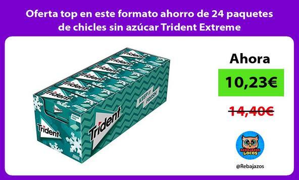 Oferta top en este formato ahorro de 24 paquetes de chicles sin azúcar Trident Extreme