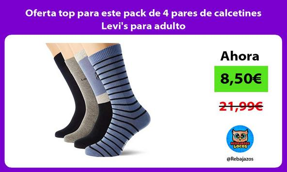 Oferta top para este pack de 4 pares de calcetines Levi's para adulto
