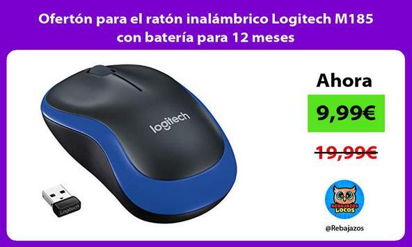 Ofertón para el ratón inalámbrico Logitech M185 con batería para 12 meses