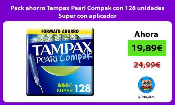 Pack ahorro Tampax Pearl Compak con 128 unidades Super con aplicador