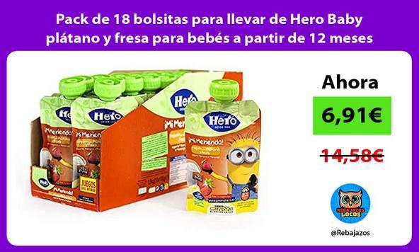 Pack de 18 bolsitas para llevar de Hero Baby plátano y fresa para bebés a partir de 12 meses