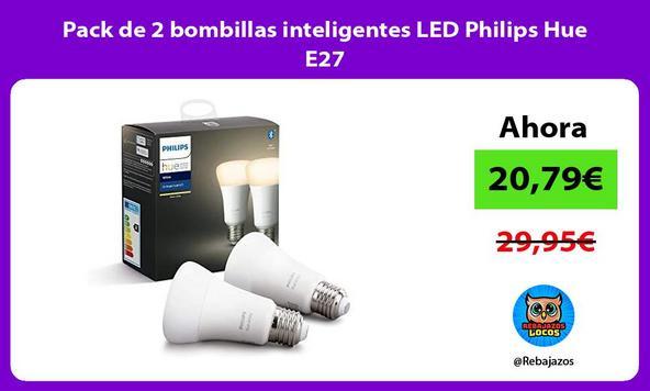Pack de 2 bombillas inteligentes LED Philips Hue E27