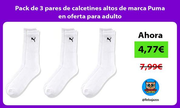 Pack de 3 pares de calcetines altos de marca Puma en oferta para adulto