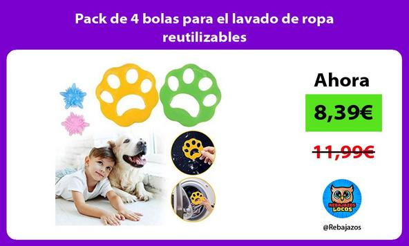 Pack de 4 bolas para el lavado de ropa reutilizables