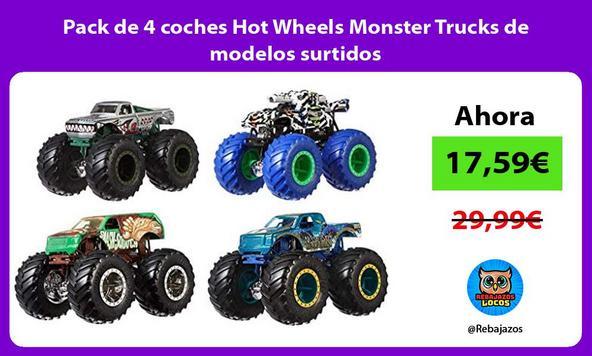 Pack de 4 coches Hot Wheels Monster Trucks de modelos surtidos