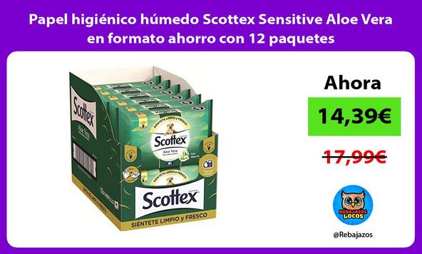 Papel higiénico húmedo Scottex Sensitive Aloe Vera en formato ahorro con 12 paquetes