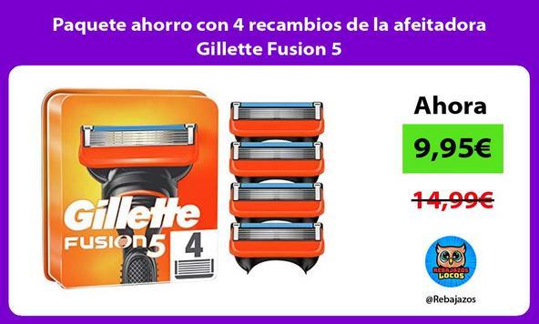 Paquete ahorro con 4 recambios de la afeitadora Gillette Fusion 5