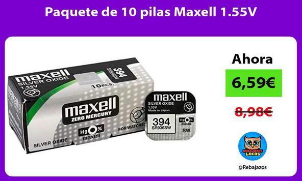 Paquete de 10 pilas Maxell 1.55V