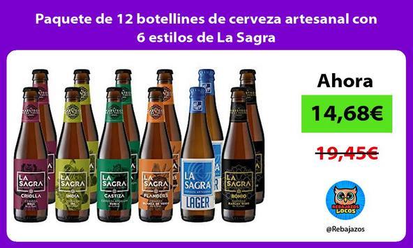 Paquete de 12 botellines de cerveza artesanal con 6 estilos de La Sagra