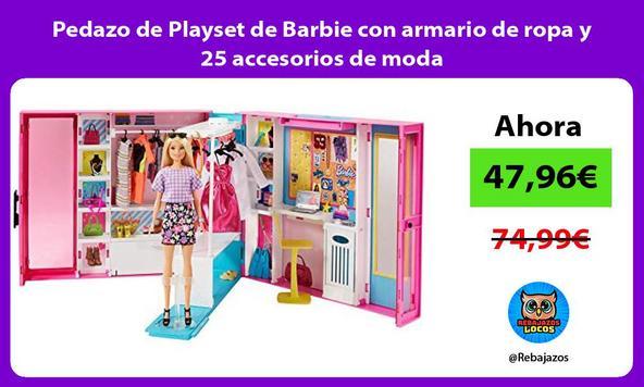 Pedazo de Playset de Barbie con armario de ropa y 25 accesorios de moda