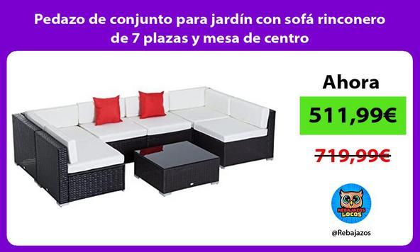 Pedazo de conjunto para jardín con sofá rinconero de 7 plazas y mesa de centro