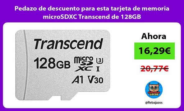 Pedazo de descuento para esta tarjeta de memoria microSDXC Transcend de 128GB