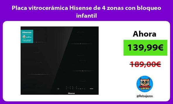 Placa vitrocerámica Hisense de 4 zonas con bloqueo infantil