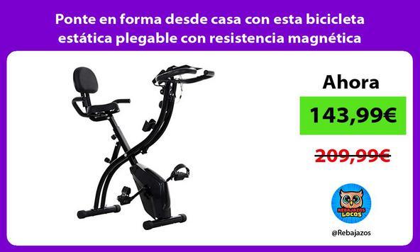 Ponte en forma desde casa con esta bicicleta estática plegable con resistencia magnética