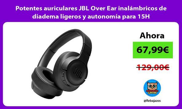 Potentes auriculares JBL Over Ear inalámbricos de diadema ligeros y autonomía para 15H