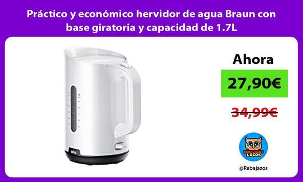Práctico y económico hervidor de agua Braun con base giratoria y capacidad de 1.7L