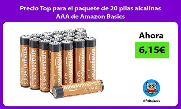 Precio Top para el paquete de 20 pilas alcalinas AAA de Amazon Basics