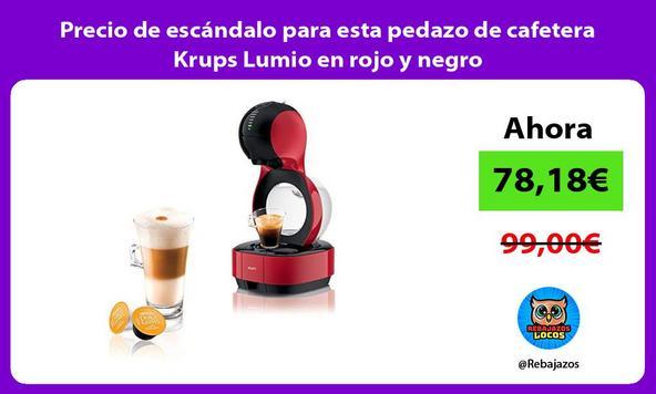 Precio de escándalo para esta pedazo de cafetera Krups Lumio en rojo y negro