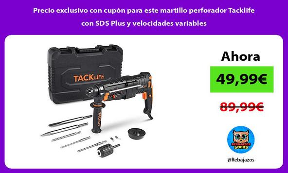 Precio exclusivo con cupón para este martillo perforador Tacklife con SDS Plus y velocidades variables