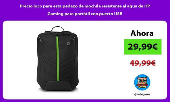 Precio loco para esta pedazo de mochila resistente al agua de HP Gaming para portátil con puerto USB