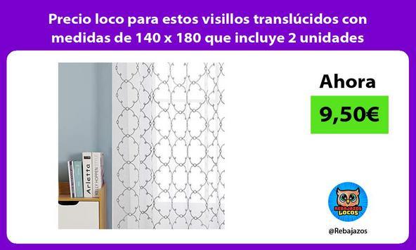 Precio loco para estos visillos translúcidos con medidas de 140 x 180 que incluye 2 unidades
