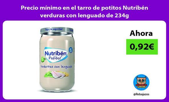 Precio mínimo en el tarro de potitos Nutribén verduras con lenguado de 234g