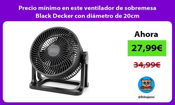 Precio mínimo en este ventilador de sobremesa Black Decker con diámetro de 20cm