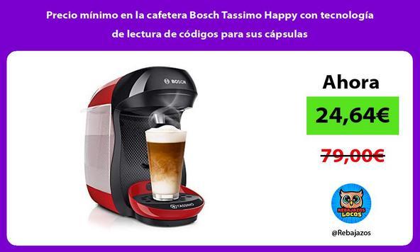 Precio mínimo en la cafetera Bosch Tassimo Happy con tecnología de lectura de códigos para sus cápsulas