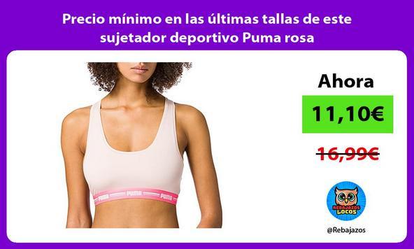 Precio mínimo en las últimas tallas de este sujetador deportivo Puma rosa