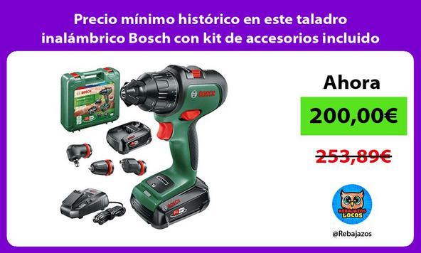 Precio mínimo histórico en este taladro inalámbrico Bosch con kit de accesorios incluido