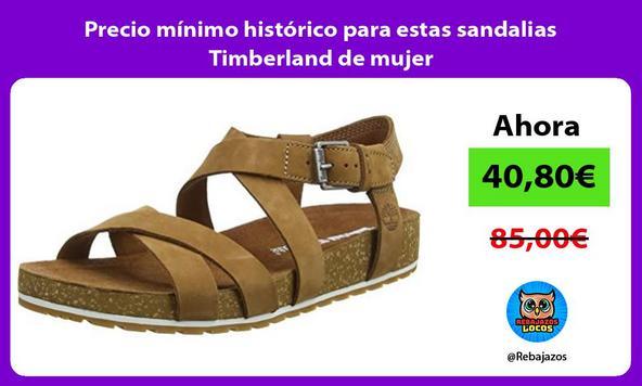 Precio mínimo histórico para estas sandalias Timberland de mujer