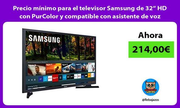 """Precio mínimo para el televisor Samsung de 32"""" HD con PurColor y compatible con asistente de voz"""