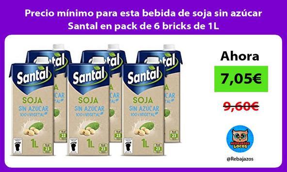 Precio mínimo para esta bebida de soja sin azúcar Santal en pack de 6 bricks de 1L