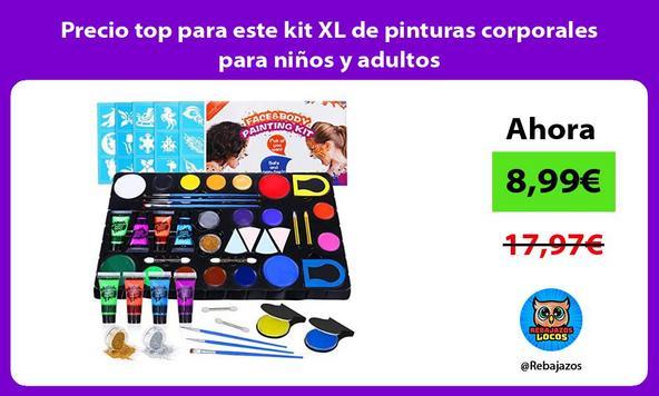 Precio top para este kit XL de pinturas corporales para niños y adultos