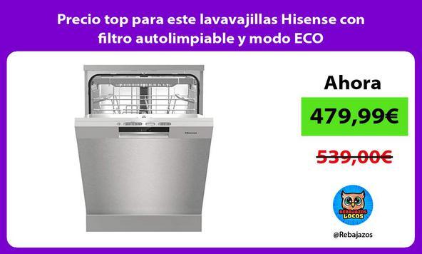 Precio top para este lavavajillas Hisense con filtro autolimpiable y modo ECO