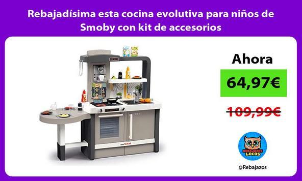 Rebajadísima esta cocina evolutiva para niños de Smoby con kit de accesorios