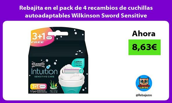 Rebajita en el pack de 4 recambios de cuchillas autoadaptables Wilkinson Sword Sensitive