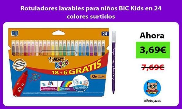 Rotuladores lavables para niños BIC Kids en 24 colores surtidos