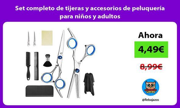 Set completo de tijeras y accesorios de peluquería para niños y adultos