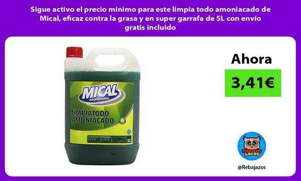 Sigue activo el precio mínimo para este limpia todo amoniacado de Mical, eficaz contra la grasa y en super garrafa de 5L con envío gratis incluido