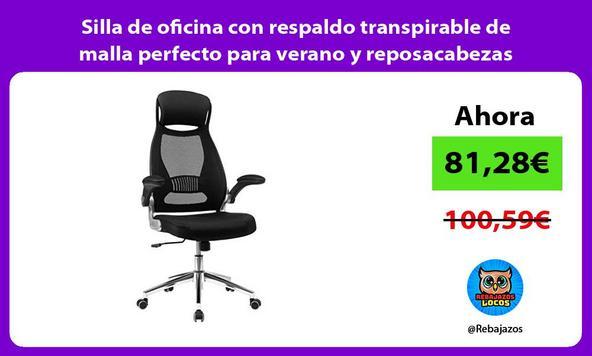 Silla de oficina con respaldo transpirable de malla perfecto para verano y reposacabezas ajustable