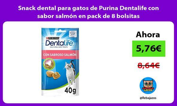 Snack dental para gatos de Purina Dentalife con sabor salmón en pack de 8 bolsitas