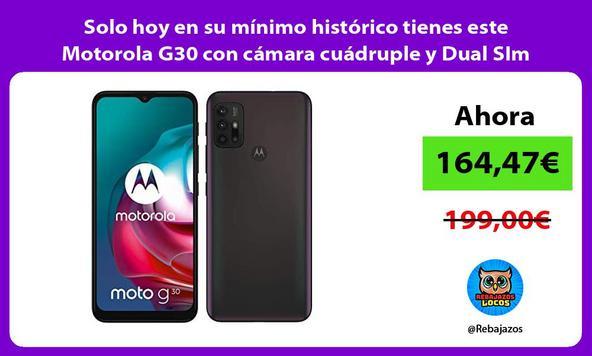 Solo hoy en su mínimo histórico tienes este Motorola G30 con cámara cuádruple y Dual SIm