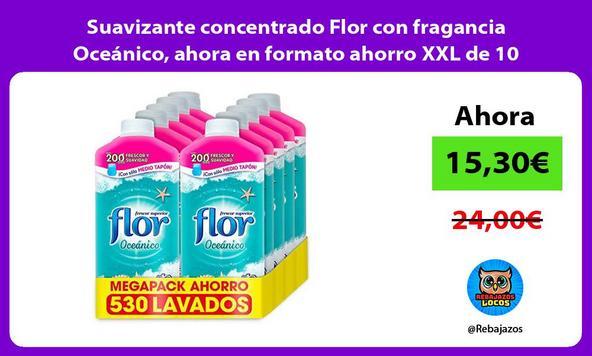 Suavizante concentrado Flor con fragancia Oceánico, ahora en formato ahorro XXL de 10 botellas