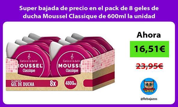 Super bajada de precio en el pack de 8 geles de ducha Moussel Classique de 600ml la unidad