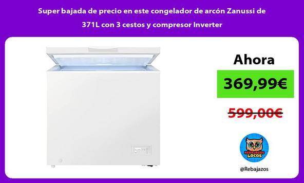 Super bajada de precio en este congelador de arcón Zanussi de 371L con 3 cestos y compresor Inverter