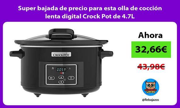 Super bajada de precio para esta olla de cocción lenta digital Crock Pot de 4.7L
