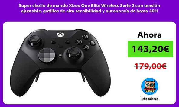 Super chollo de mando Xbox One Elite Wireless Serie 2 con tensión ajustable, gatillos de alta sensibilidad y autonomía de hasta 40H